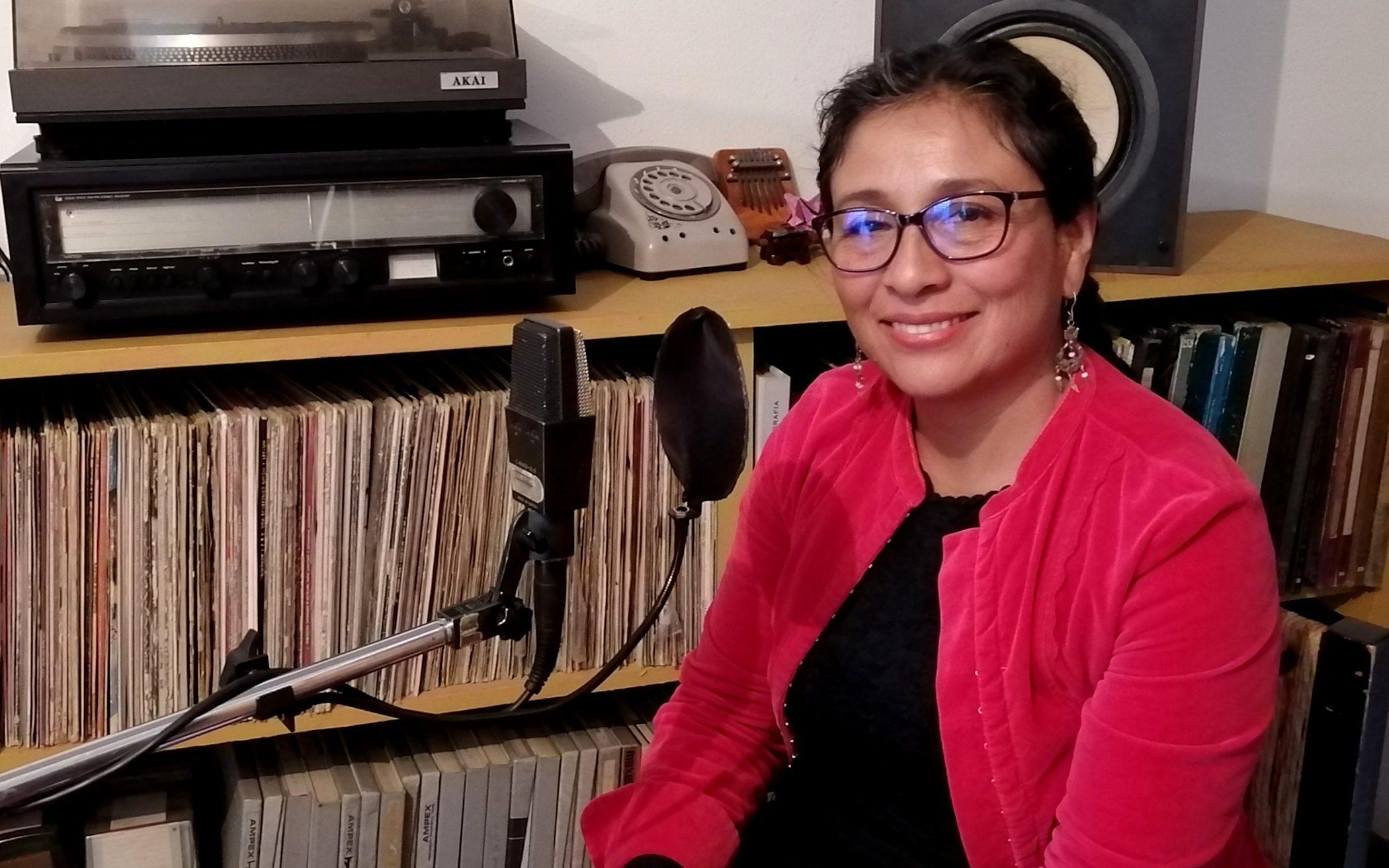 Marisol Díaz durante la gración. Foto: Pro Audio
