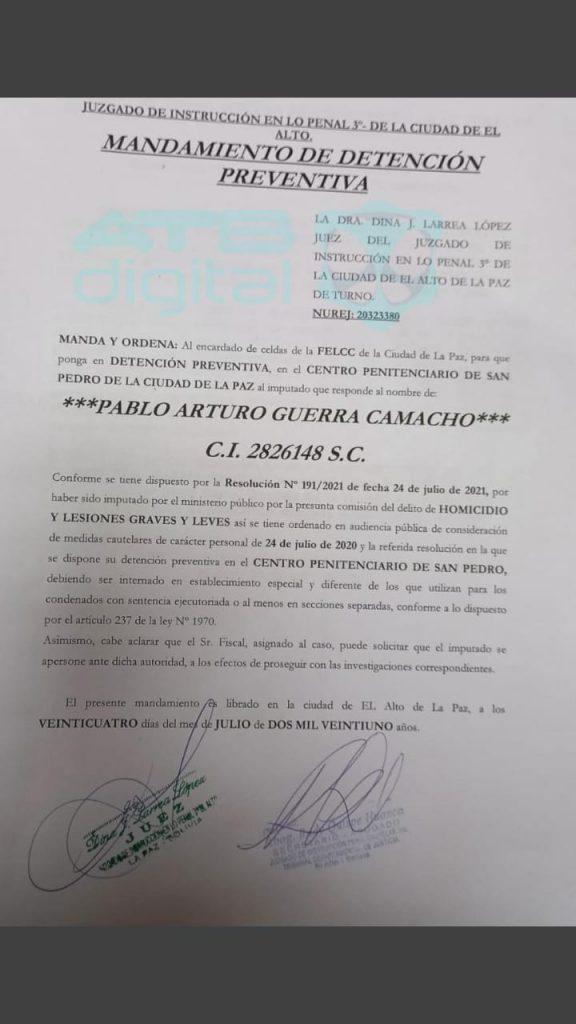 Justicia envía a la cárcel al exjefe de Estado Mayor de las FFAA por el caso Senkata