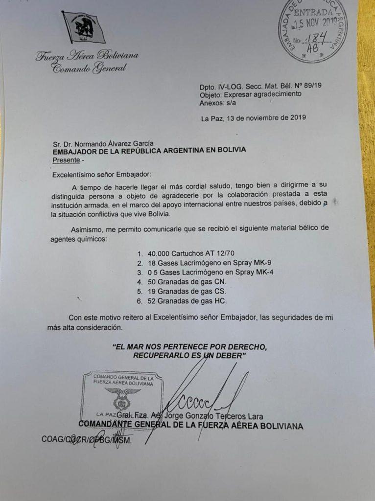 Carta del general Terceros revela que el gobierno de Macri envió 'material  bélico' a Áñez - La Razón | Noticias de Bolivia y el Mundo